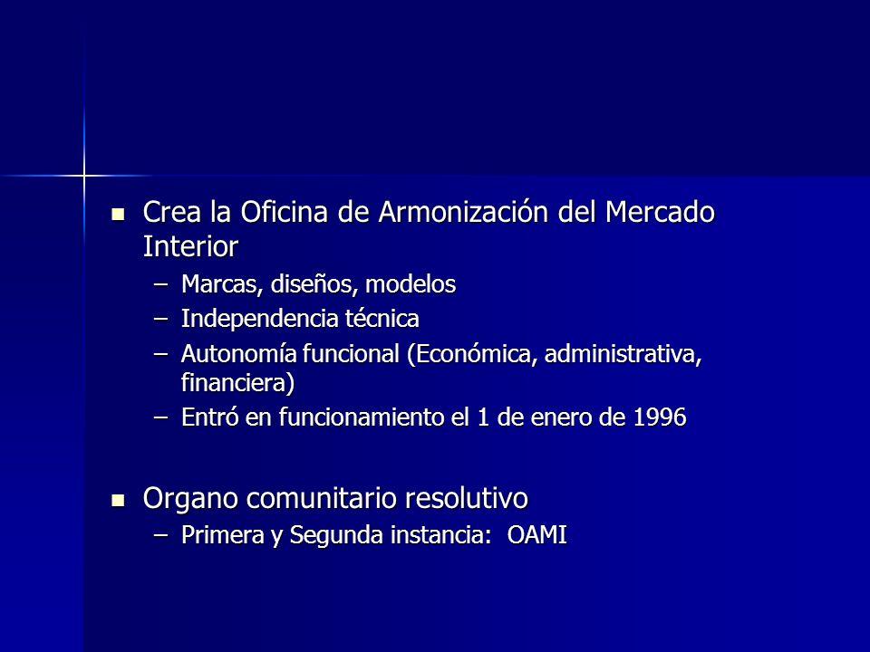 Crea la Oficina de Armonización del Mercado Interior Crea la Oficina de Armonización del Mercado Interior –Marcas, diseños, modelos –Independencia téc