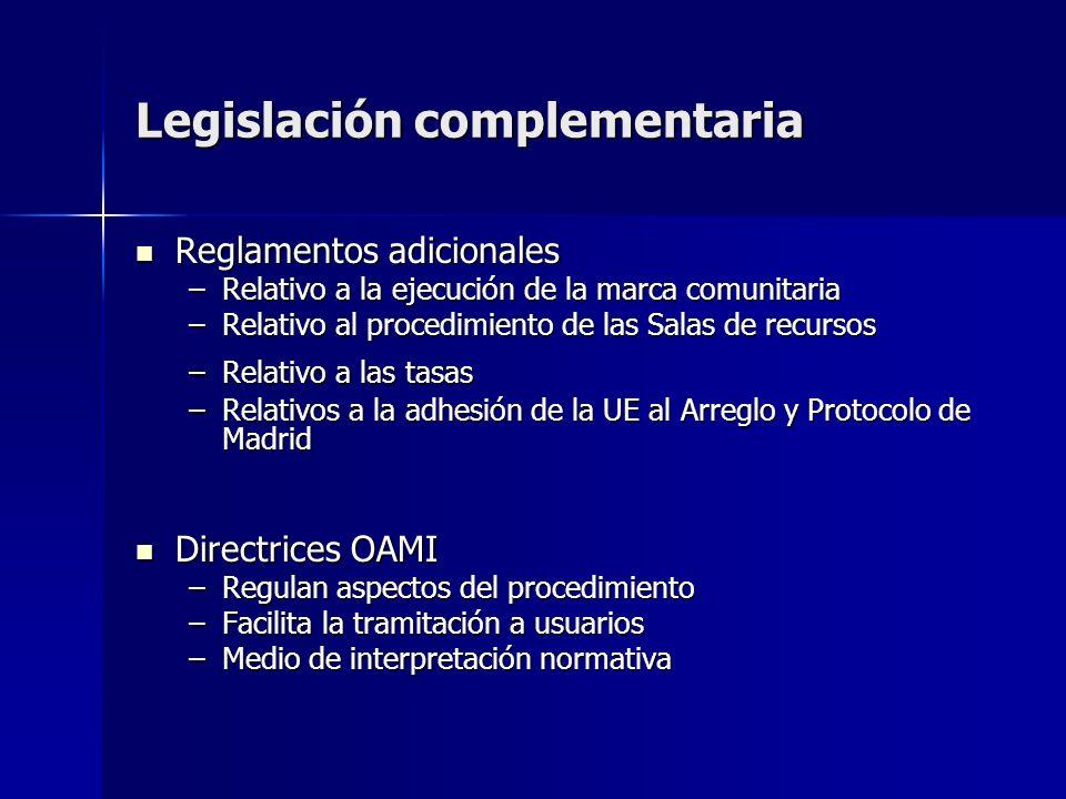 Legislación complementaria Reglamentos adicionales Reglamentos adicionales –Relativo a la ejecución de la marca comunitaria –Relativo al procedimiento