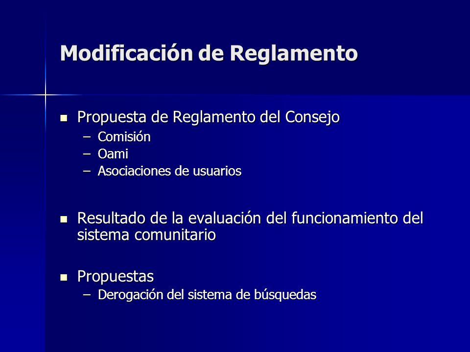 Modificación de Reglamento Propuesta de Reglamento del Consejo Propuesta de Reglamento del Consejo –Comisión –Oami –Asociaciones de usuarios Resultado