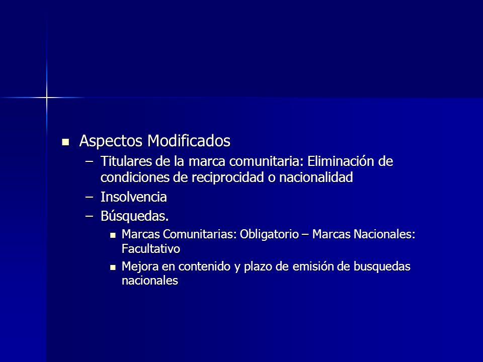 Aspectos Modificados Aspectos Modificados –Titulares de la marca comunitaria: Eliminación de condiciones de reciprocidad o nacionalidad –Insolvencia –