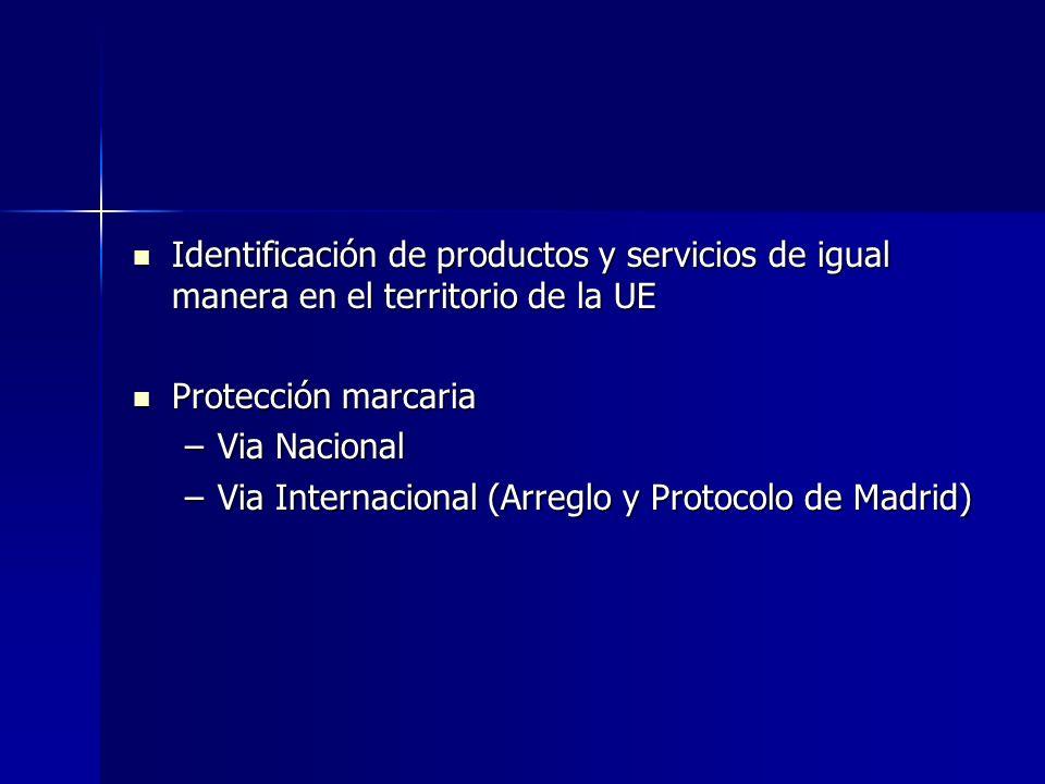 Identificación de productos y servicios de igual manera en el territorio de la UE Identificación de productos y servicios de igual manera en el territ