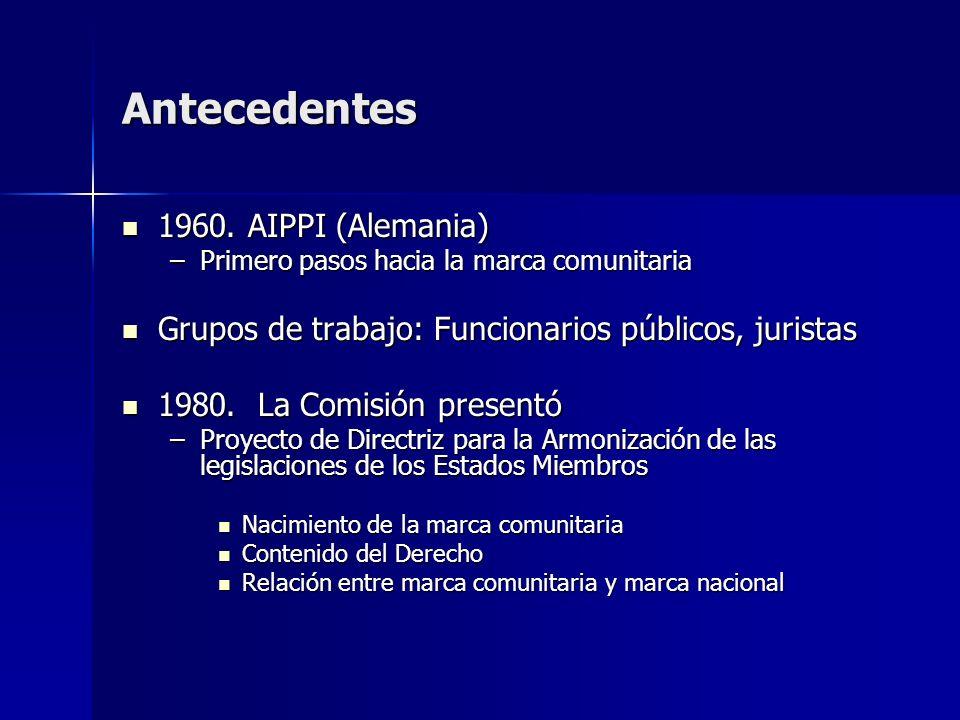 Antecedentes 1960. AIPPI (Alemania) 1960. AIPPI (Alemania) –Primero pasos hacia la marca comunitaria Grupos de trabajo: Funcionarios públicos, jurista