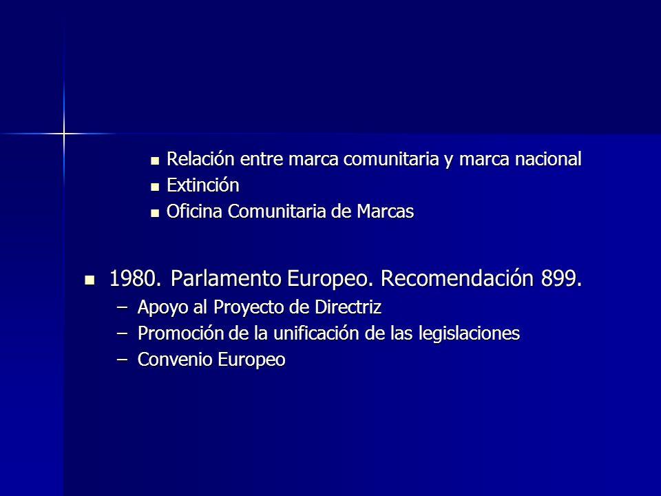 Directiva del consejo (89/104/CEE) Constituye la piedra angular del derecho europeo de marcas Constituye la piedra angular del derecho europeo de marcas Aproximación de las legislaciones en materia de marcas Aproximación de las legislaciones en materia de marcas Búsqueda de protección uniforme en todos los paises miembros Búsqueda de protección uniforme en todos los paises miembros –Artículo 16: Conmina a los Estados miembros a dar cumplimiento a lo dispuesto en la Directiva –28/12/1991, extensible al 31/12/1992