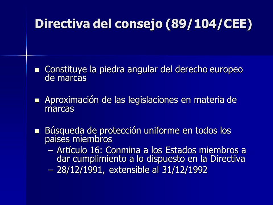 Directiva del consejo (89/104/CEE) Constituye la piedra angular del derecho europeo de marcas Constituye la piedra angular del derecho europeo de marc