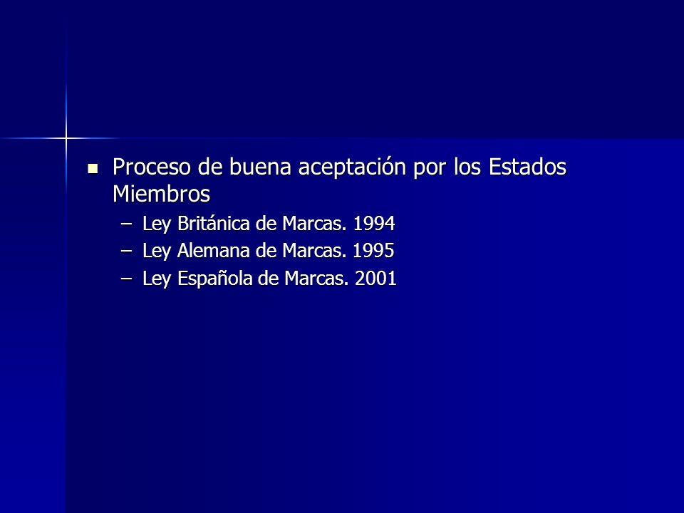 Proceso de buena aceptación por los Estados Miembros Proceso de buena aceptación por los Estados Miembros –Ley Británica de Marcas. 1994 –Ley Alemana