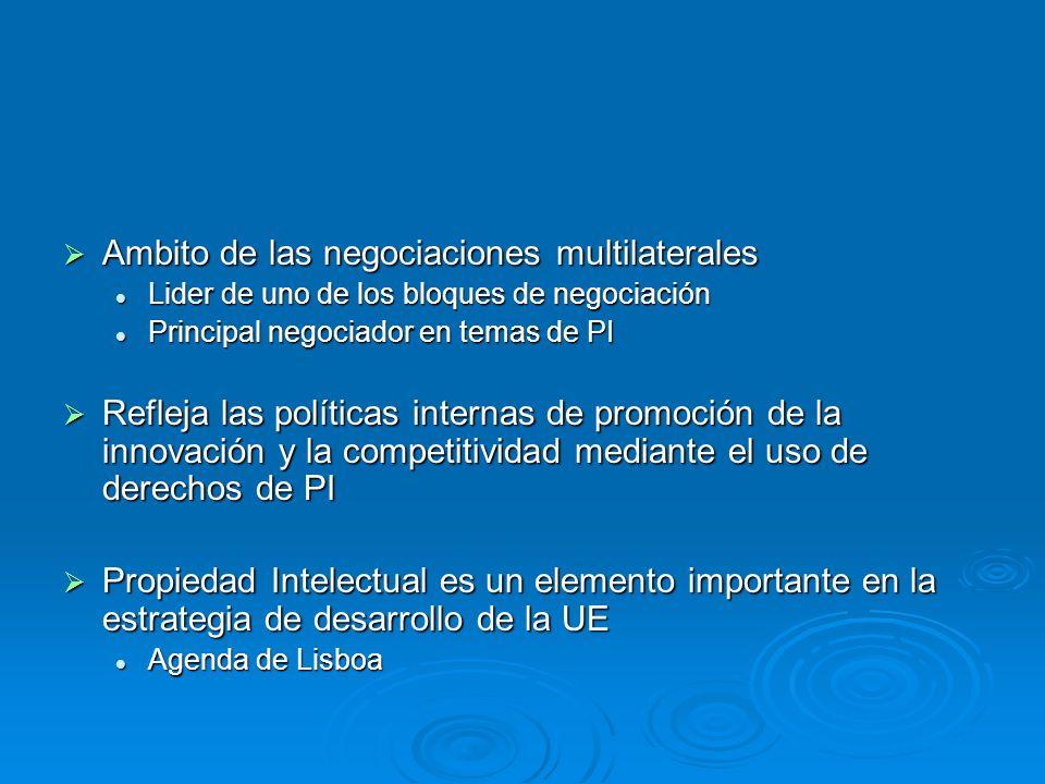 Ambito de las negociaciones multilaterales Ambito de las negociaciones multilaterales Lider de uno de los bloques de negociación Lider de uno de los bloques de negociación Principal negociador en temas de PI Principal negociador en temas de PI Refleja las políticas internas de promoción de la innovación y la competitividad mediante el uso de derechos de PI Refleja las políticas internas de promoción de la innovación y la competitividad mediante el uso de derechos de PI Propiedad Intelectual es un elemento importante en la estrategia de desarrollo de la UE Propiedad Intelectual es un elemento importante en la estrategia de desarrollo de la UE Agenda de Lisboa Agenda de Lisboa