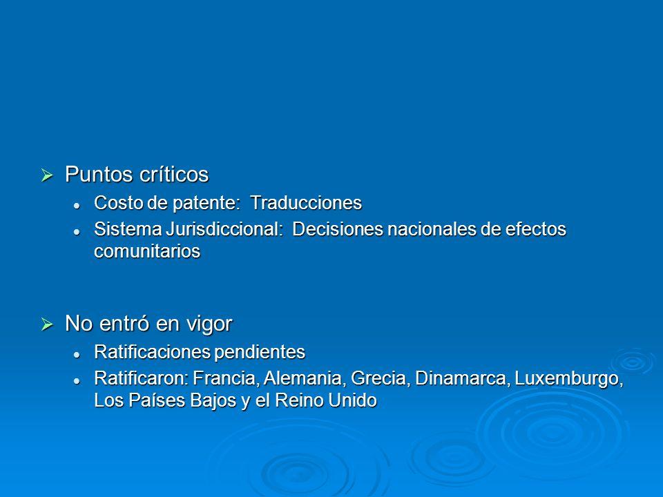 Puntos críticos Puntos críticos Costo de patente: Traducciones Costo de patente: Traducciones Sistema Jurisdiccional: Decisiones nacionales de efectos