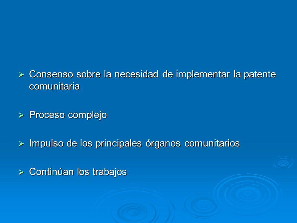 Consenso sobre la necesidad de implementar la patente comunitaria Consenso sobre la necesidad de implementar la patente comunitaria Proceso complejo P