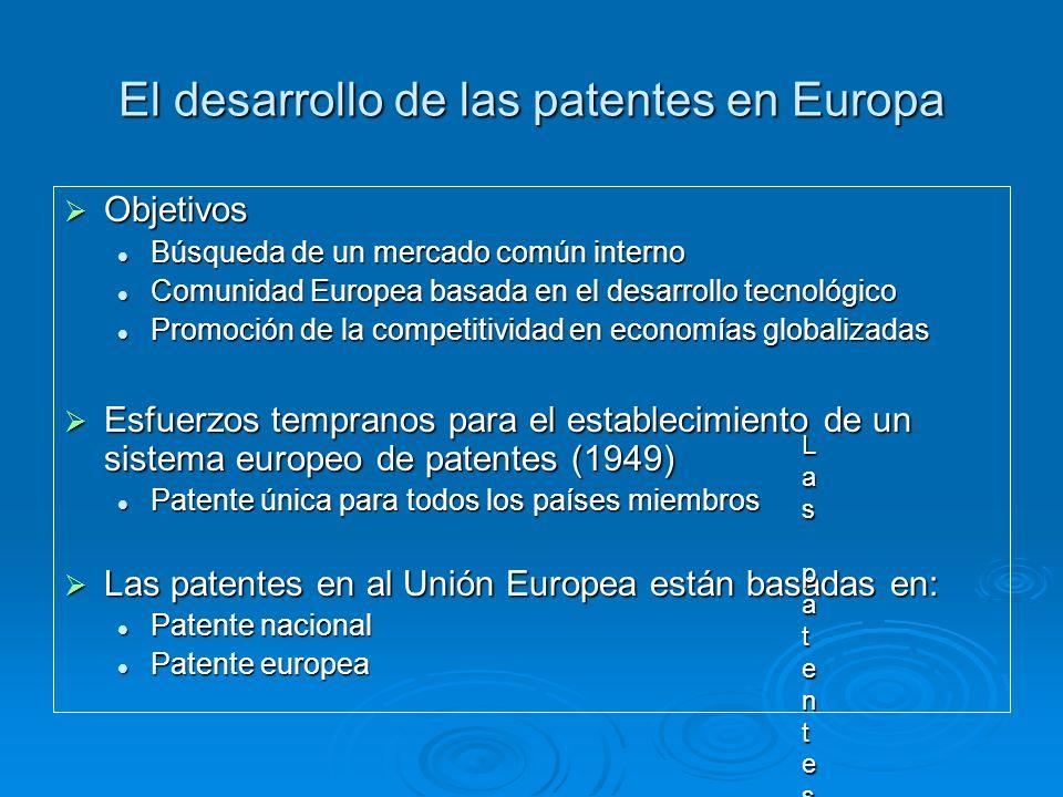 El desarrollo de las patentes en Europa Objetivos Objetivos Búsqueda de un mercado común interno Búsqueda de un mercado común interno Comunidad Europe
