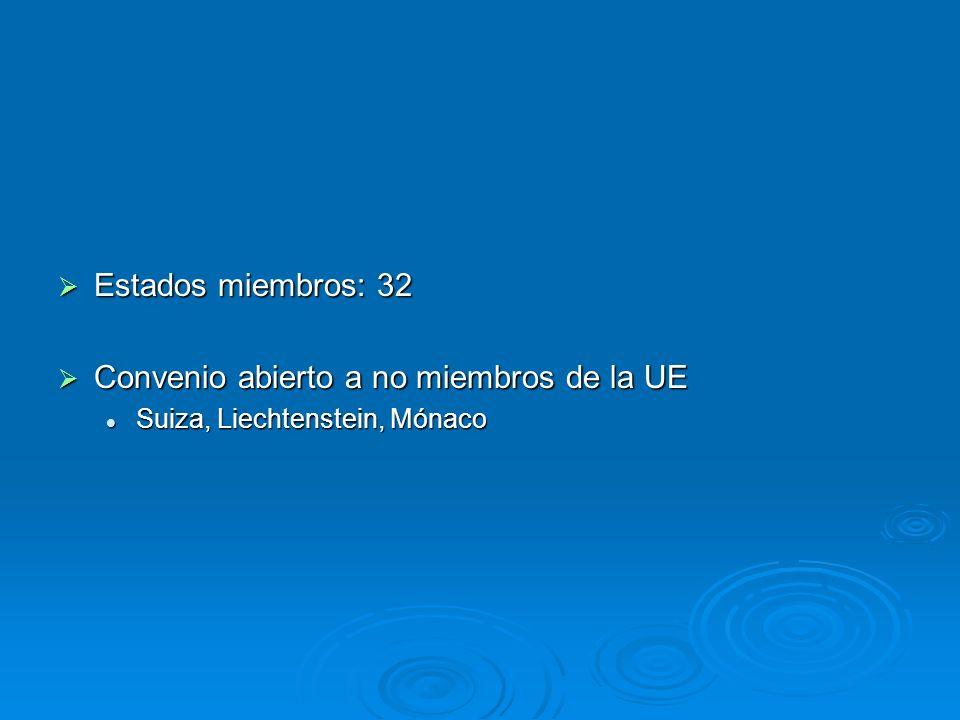 Estados miembros: 32 Estados miembros: 32 Convenio abierto a no miembros de la UE Convenio abierto a no miembros de la UE Suiza, Liechtenstein, Mónaco