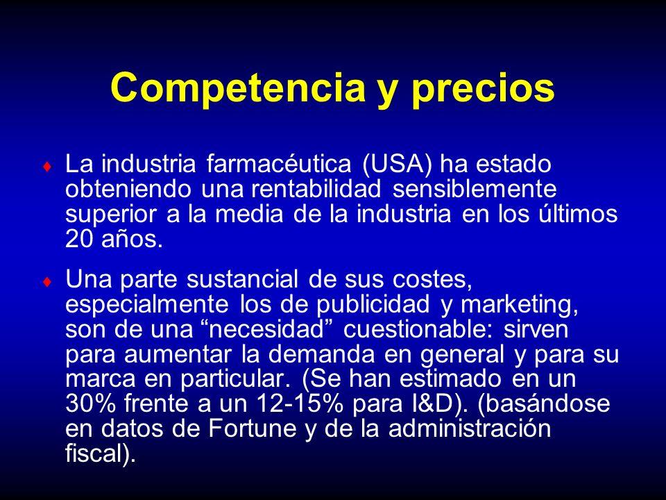 Competencia y precios La industria farmacéutica (USA) ha estado obteniendo una rentabilidad sensiblemente superior a la media de la industria en los ú