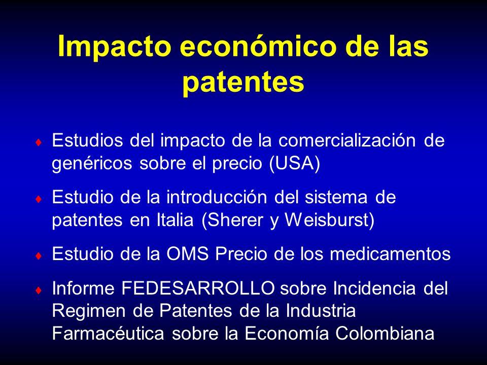 Impacto económico de las patentes Estudios del impacto de la comercialización de genéricos sobre el precio (USA) Estudio de la introducción del sistem