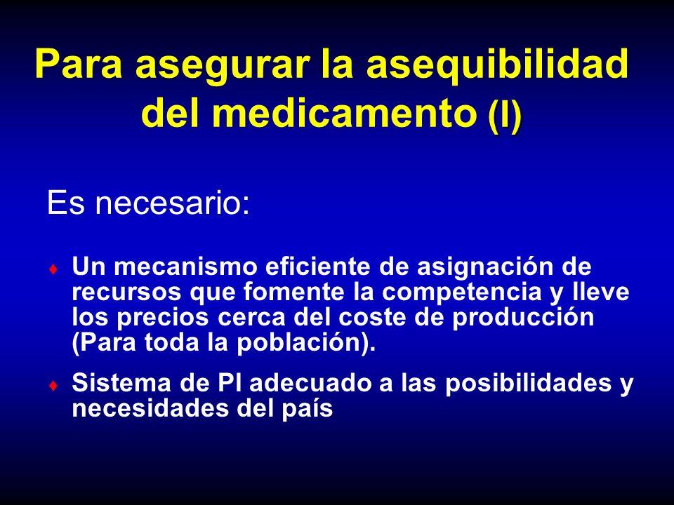 (I) Para asegurar la asequibilidad del medicamento (I) Un mecanismo eficiente de asignación de recursos que fomente la competencia y lleve los precios