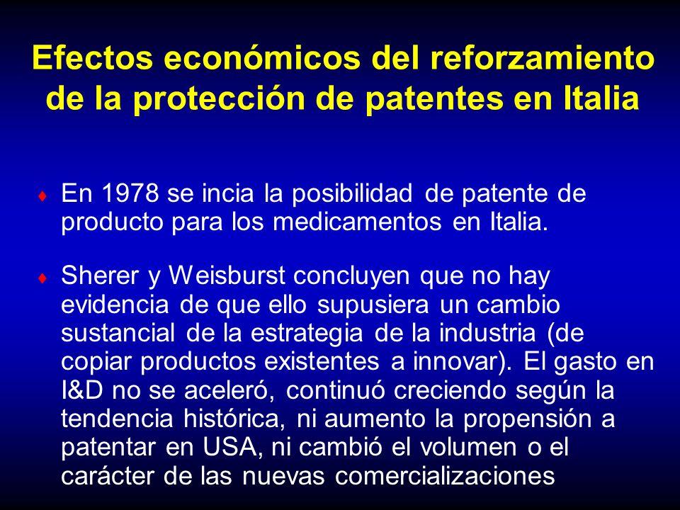 Efectos económicos del reforzamiento de la protección de patentes en Italia En 1978 se incia la posibilidad de patente de producto para los medicament