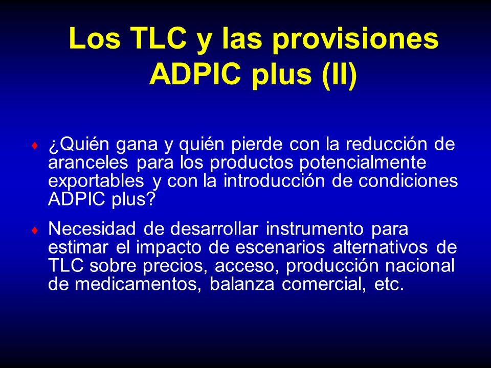 Los TLC y las provisiones ADPIC plus (II) ¿Quién gana y quién pierde con la reducción de aranceles para los productos potencialmente exportables y con