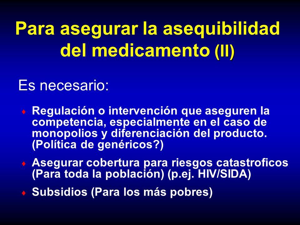 (II) Para asegurar la asequibilidad del medicamento (II) Regulación o intervención que aseguren la competencia, especialmente en el caso de monopolios