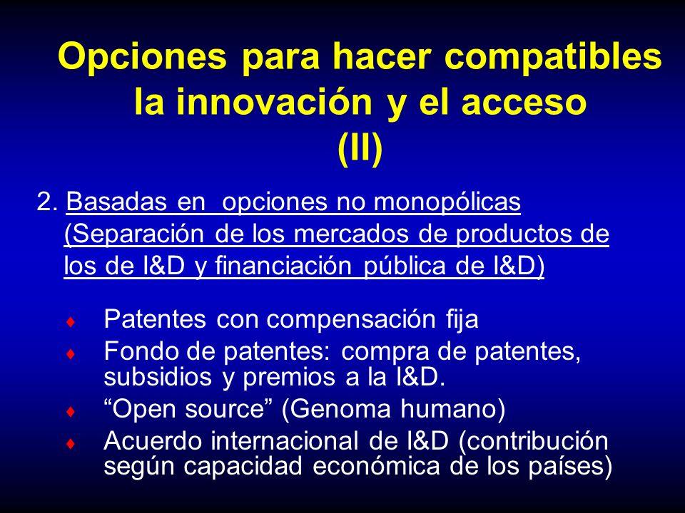 Opciones para hacer compatibles la innovación y el acceso (II) Patentes con compensación fija Fondo de patentes: compra de patentes, subsidios y premi
