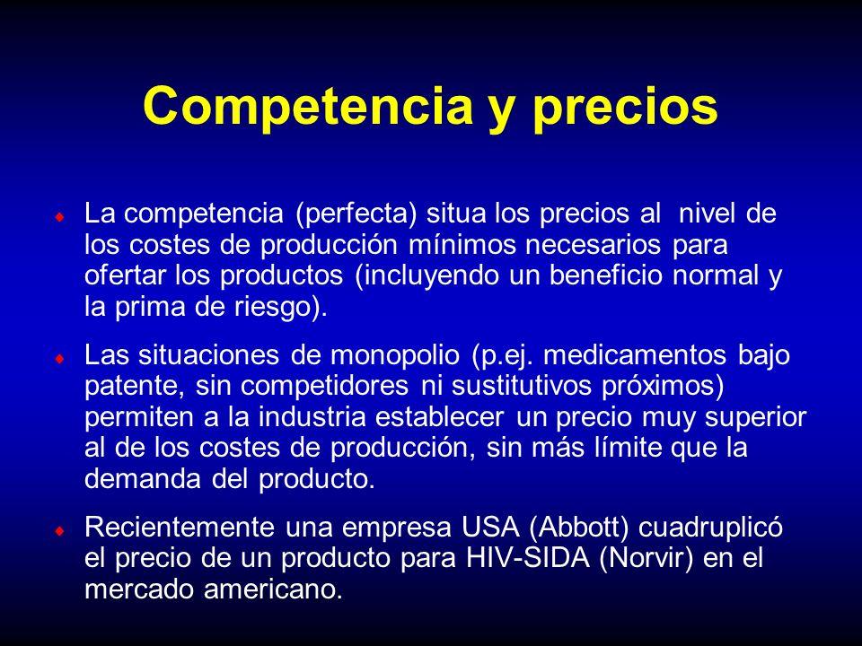 Competencia y precios La competencia (perfecta) situa los precios al nivel de los costes de producción mínimos necesarios para ofertar los productos (
