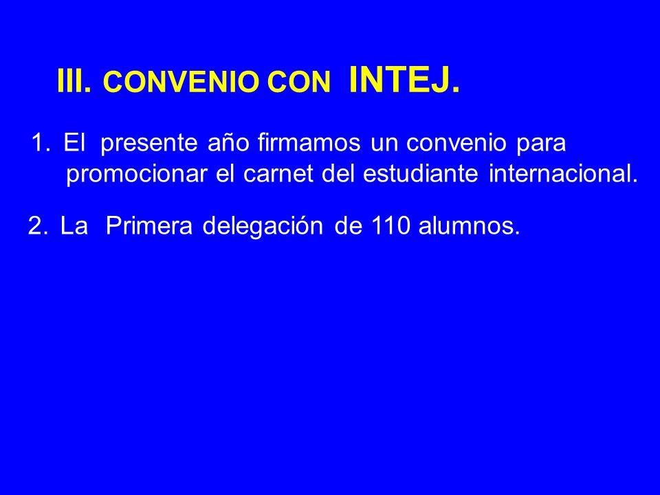 III. CONVENIO CON INTEJ. 1.El presente año firmamos un convenio para promocionar el carnet del estudiante internacional. 2. La Primera delegación de 1