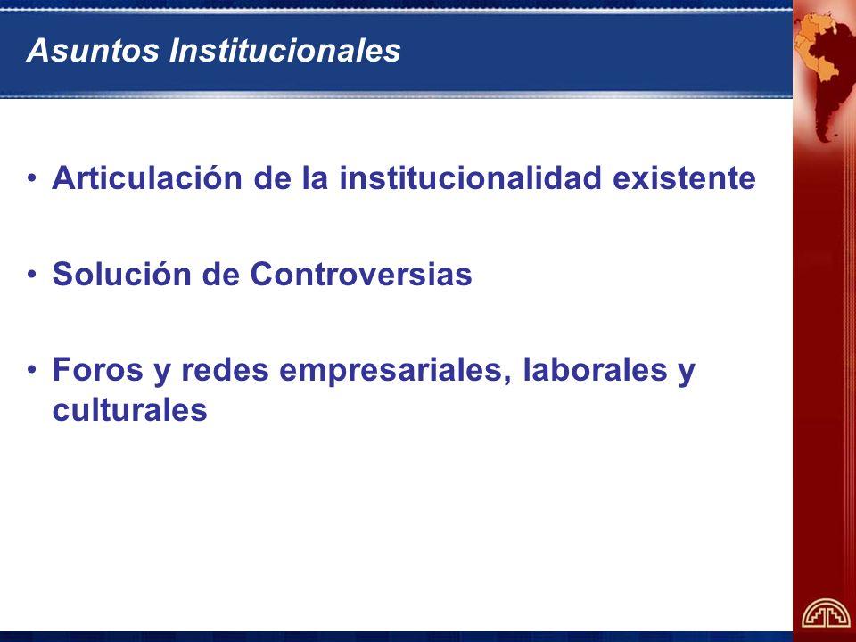 Asuntos Institucionales Articulación de la institucionalidad existente Solución de Controversias Foros y redes empresariales, laborales y culturales