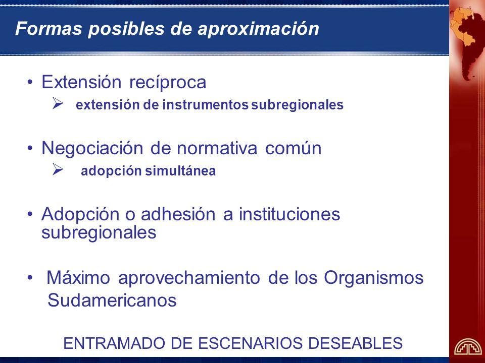 Formas posibles de aproximación Extensión recíproca extensión de instrumentos subregionales Negociación de normativa común adopción simultánea Adopción o adhesión a instituciones subregionales Máximo aprovechamiento de los Organismos Sudamericanos ENTRAMADO DE ESCENARIOS DESEABLES