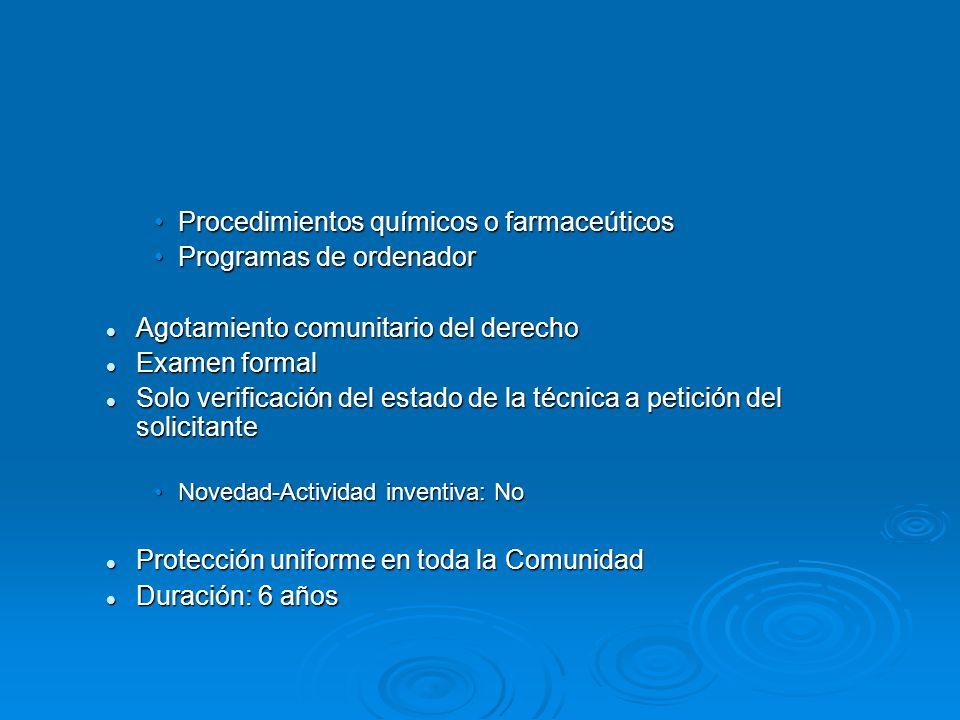 Procedimientos químicos o farmaceúticosProcedimientos químicos o farmaceúticos Programas de ordenadorProgramas de ordenador Agotamiento comunitario de