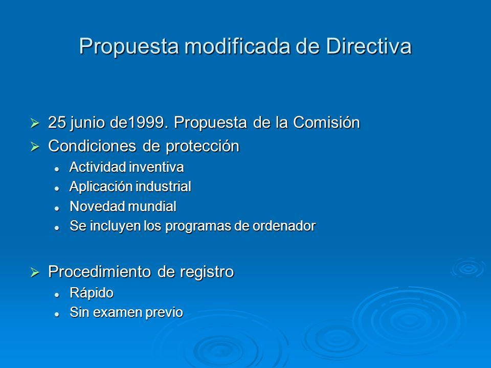 Propuesta modificada de Directiva 25 junio de1999. Propuesta de la Comisión 25 junio de1999. Propuesta de la Comisión Condiciones de protección Condic