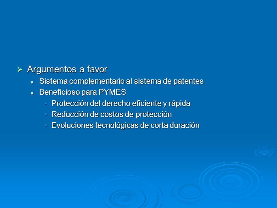 Argumentos a favor Argumentos a favor Sistema complementario al sistema de patentes Sistema complementario al sistema de patentes Beneficioso para PYM