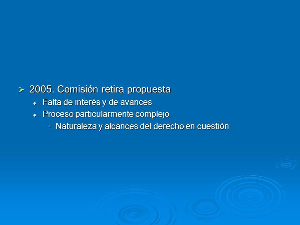 2005. Comisión retira propuesta 2005. Comisión retira propuesta Falta de interés y de avances Falta de interés y de avances Proceso particularmente co