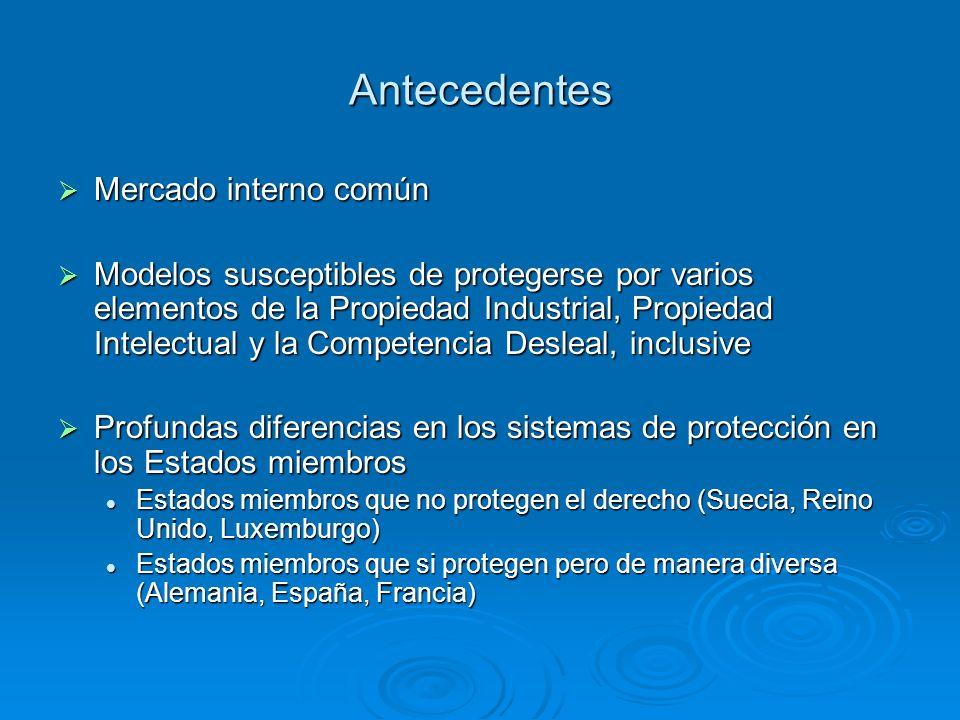Antecedentes Mercado interno común Mercado interno común Modelos susceptibles de protegerse por varios elementos de la Propiedad Industrial, Propiedad