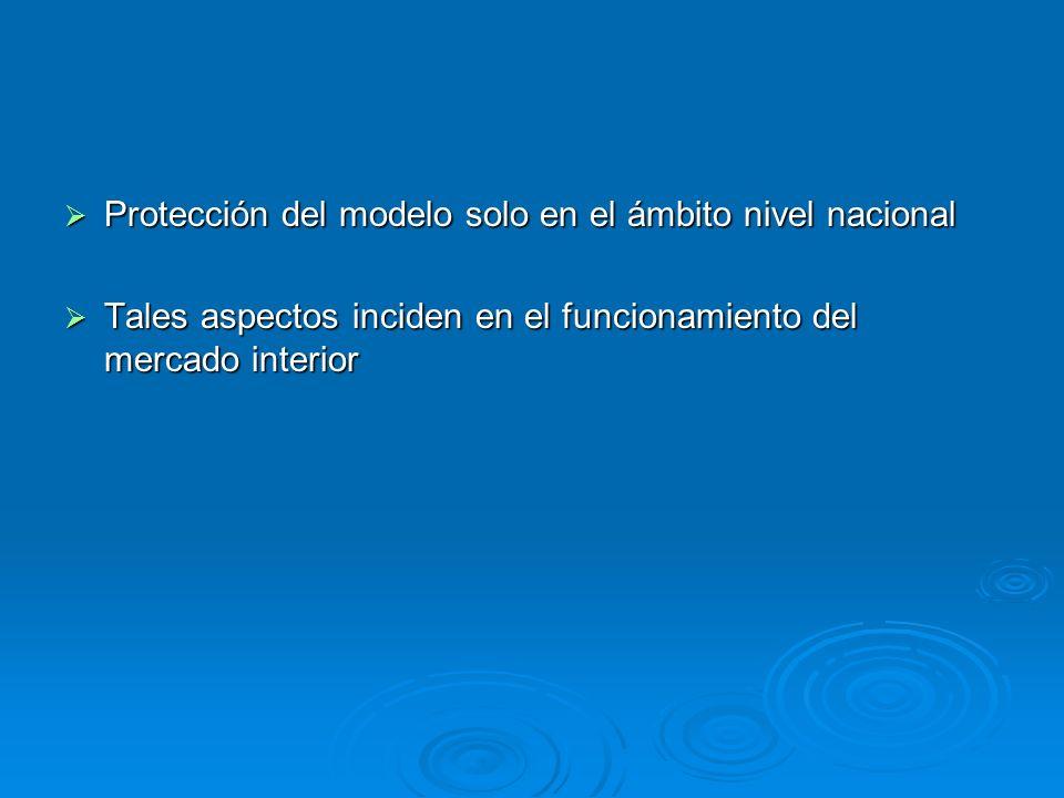 Protección del modelo solo en el ámbito nivel nacional Protección del modelo solo en el ámbito nivel nacional Tales aspectos inciden en el funcionamie