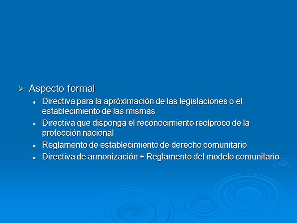 Aspecto formal Aspecto formal Directiva para la apróximación de las legislaciones o el establecimiento de las mismas Directiva para la apróximación de