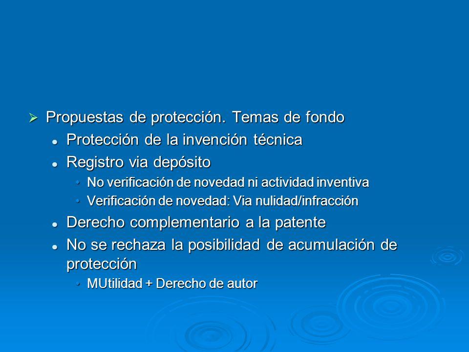 Propuestas de protección. Temas de fondo Propuestas de protección. Temas de fondo Protección de la invención técnica Protección de la invención técnic