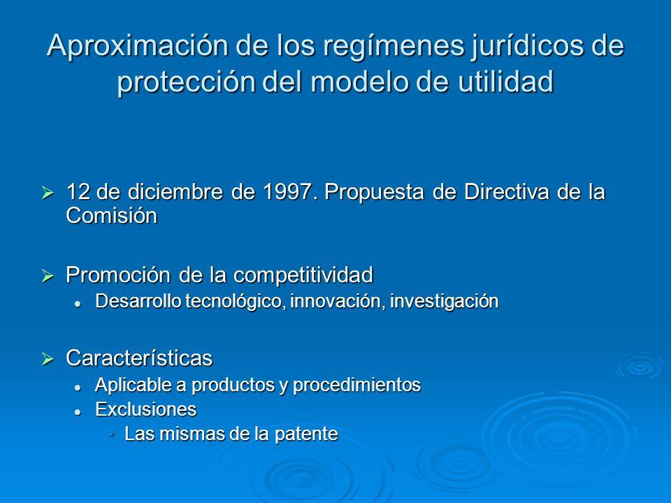 Aproximación de los regímenes jurídicos de protección del modelo de utilidad 12 de diciembre de 1997. Propuesta de Directiva de la Comisión 12 de dici