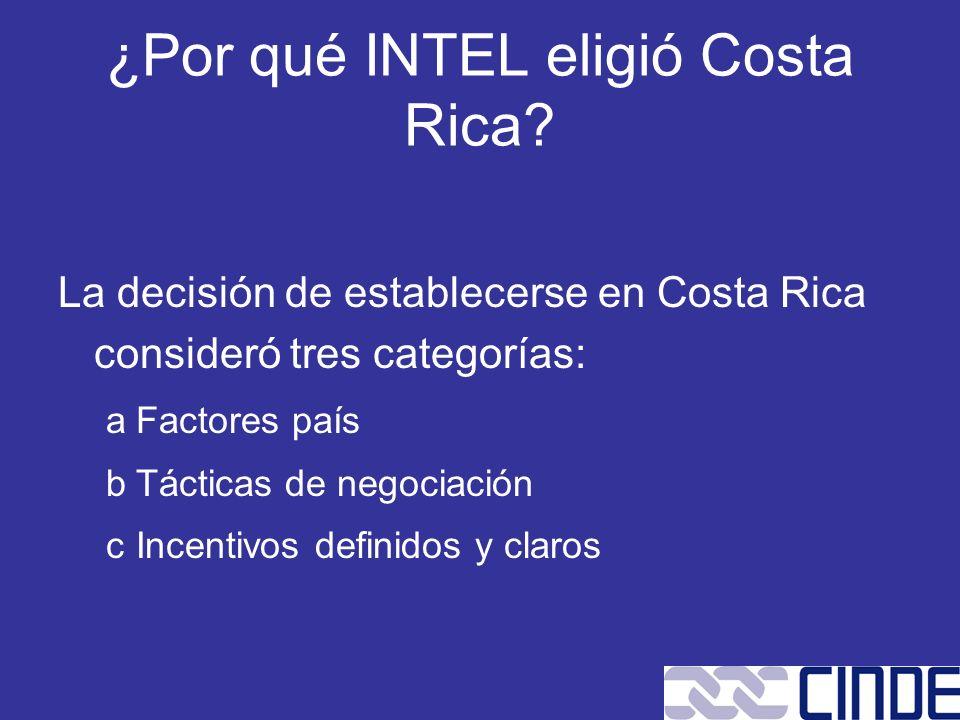 ¿Por qué INTEL eligió Costa Rica? La decisión de establecerse en Costa Rica consideró tres categorías: aFactores país bTácticas de negociación cIncent