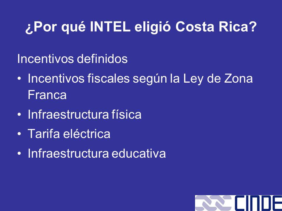¿Por qué INTEL eligió Costa Rica? Incentivos definidos Incentivos fiscales según la Ley de Zona Franca Infraestructura física Tarifa eléctrica Infraes