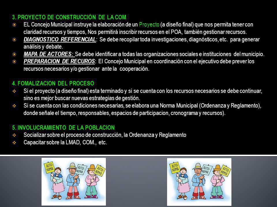 3. PROYECTO DE CONSTRUCCIÓN DE LA COM EL Concejo Municipal instruye la elaboración de un Proyecto (a diseño final) que nos permita tener con claridad