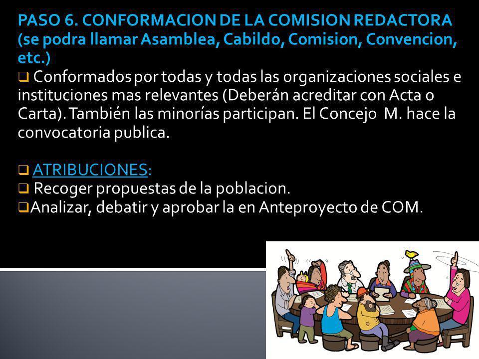 PASO 6. CONFORMACION DE LA COMISION REDACTORA (se podra llamar Asamblea, Cabildo, Comision, Convencion, etc.) Conformados por todas y todas las organi