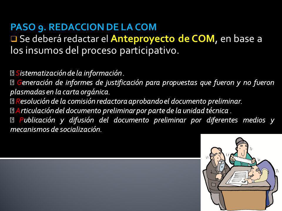 PASO 9. REDACCION DE LA COM Se deberá redactar el Anteproyecto de COM, en base a los insumos del proceso participativo. Sistematización de la informac
