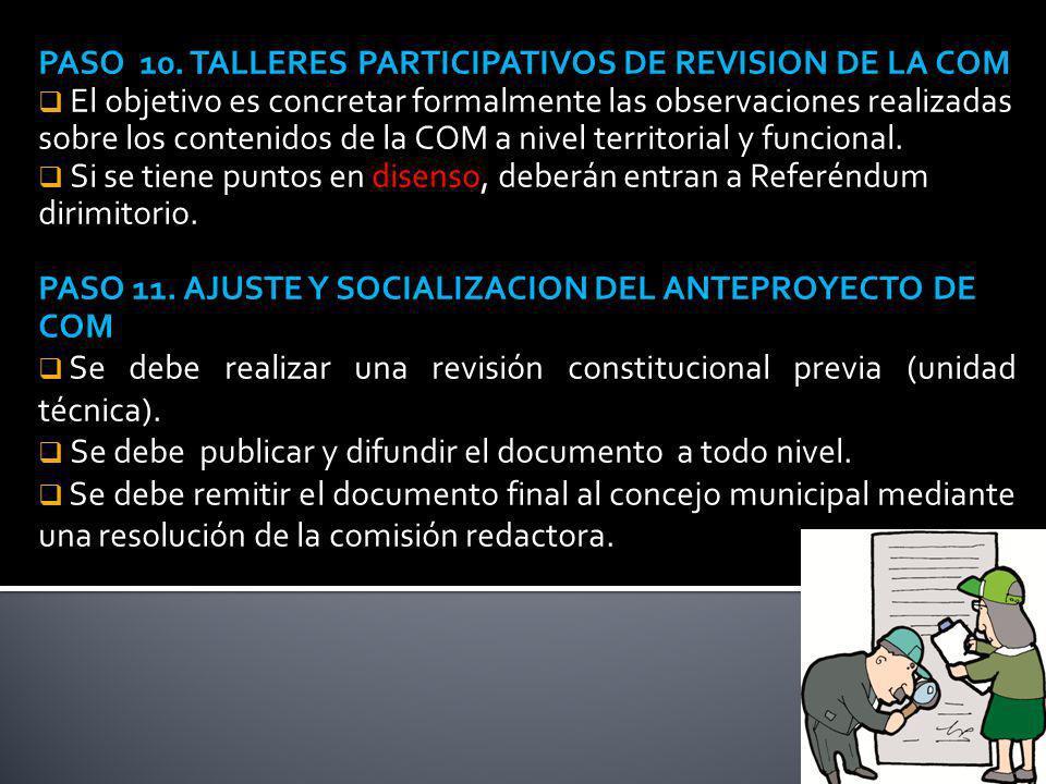 PASO 10. TALLERES PARTICIPATIVOS DE REVISION DE LA COM El objetivo es concretar formalmente las observaciones realizadas sobre los contenidos de la CO