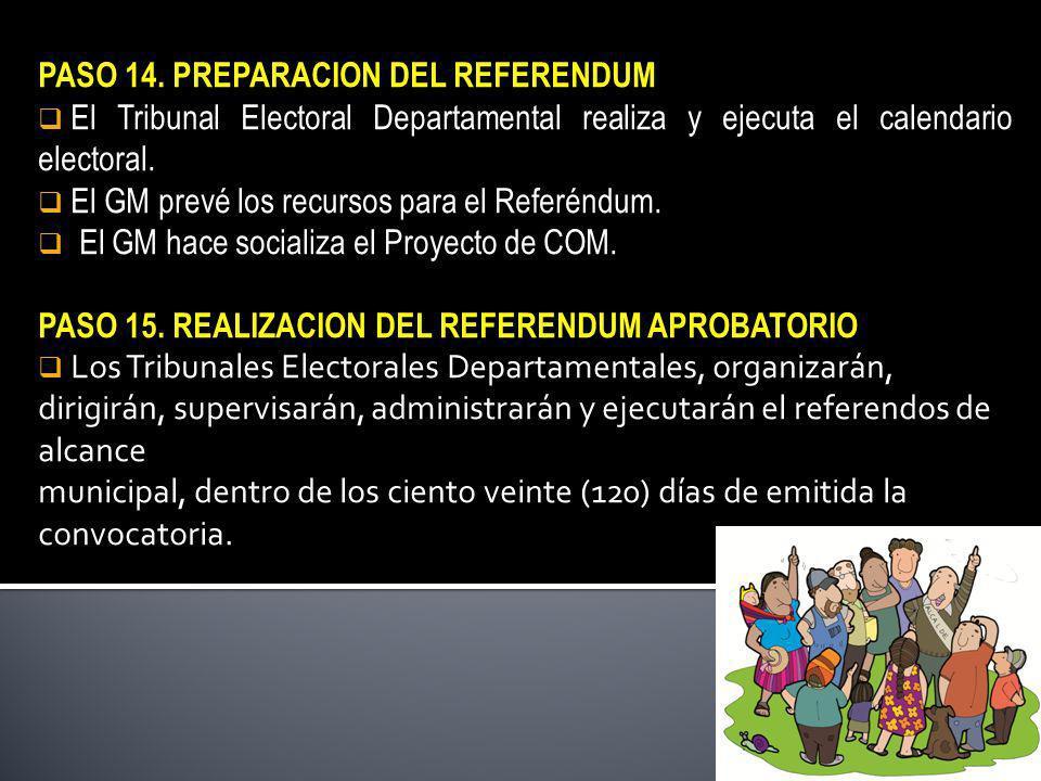 PASO 14. PREPARACION DEL REFERENDUM El Tribunal Electoral Departamental realiza y ejecuta el calendario electoral. El GM prevé los recursos para el Re