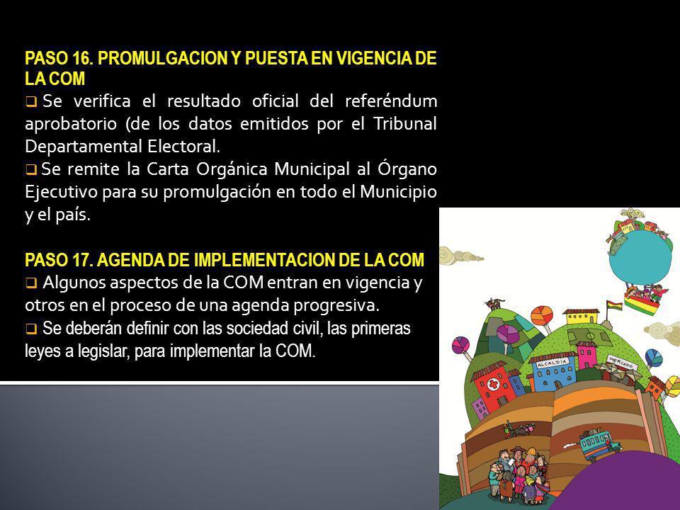 PASO 16. PROMULGACION Y PUESTA EN VIGENCIA DE LA COM Se verifica el resultado oficial del referéndum aprobatorio (de los datos emitidos por el Tribuna