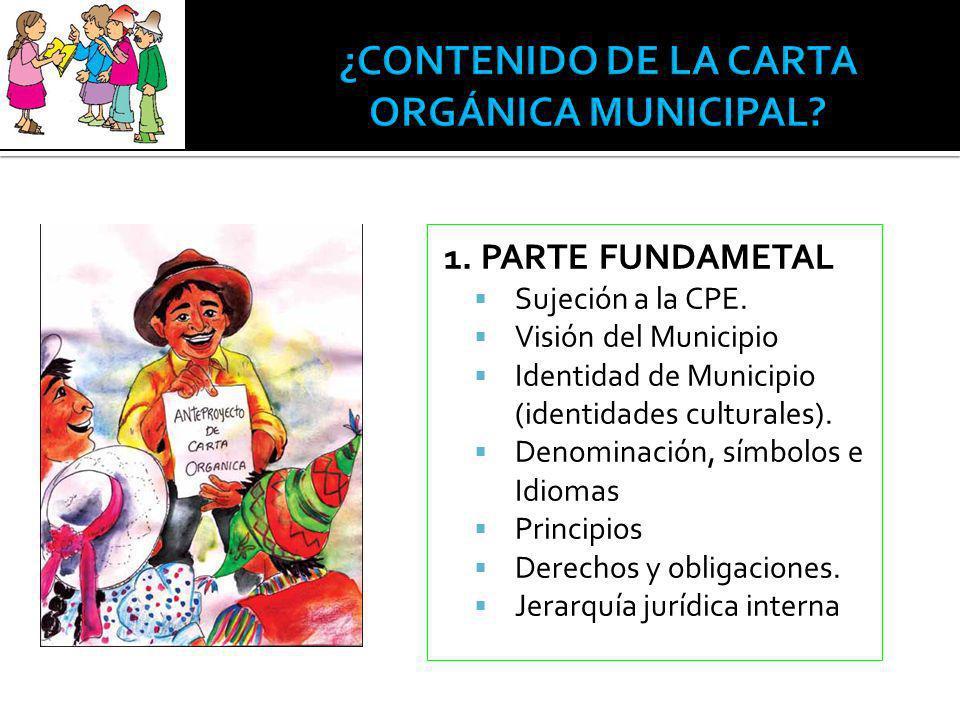 1. PARTE FUNDAMETAL Sujeción a la CPE. Visión del Municipio Identidad de Municipio (identidades culturales). Denominación, símbolos e Idiomas Principi