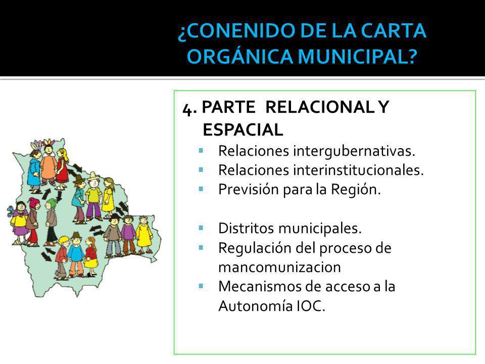 4. PARTE RELACIONAL Y ESPACIAL Relaciones intergubernativas. Relaciones interinstitucionales. Previsión para la Región. Distritos municipales. Regulac