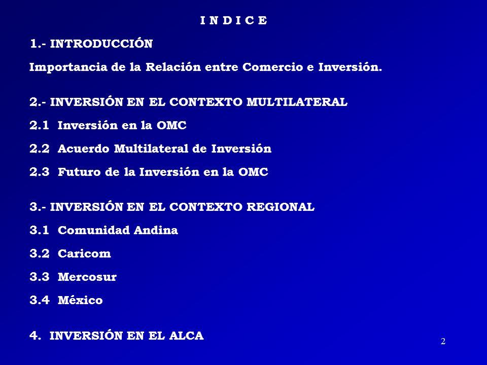 2 I N D I C E 1.- INTRODUCCIÓN Importancia de la Relación entre Comercio e Inversión.