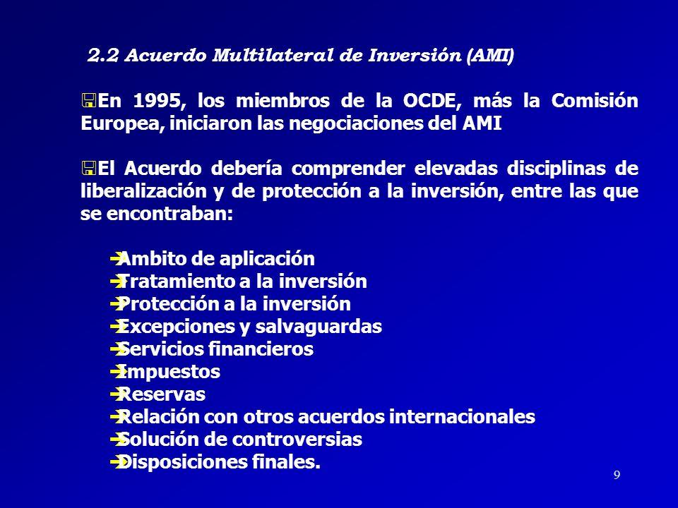 29 4 TRATO NO DISCRIMINATORIO 4 ADMISIÓN DE LAS INVERSIONES CONFORME A LAS DISPOSICIONES VIGENTES DEL ESTADO RECEPTOR (POST- ESTABLECIMIENTO) 4 LIBERTAD DE TRANSFERENCIAS 4 EXPROPIACIÓN EN FORMA NO DISCRIMINATORIA Y MEDIANTE INDEMNIZACIÓN 4 MECANISMO DE SOLUCIÓN DE CONTROVERSIAS SIMILAR AL CONTENIDO EN EL CAPÍTULO DE INVERSIÓN DEL TLCAN.