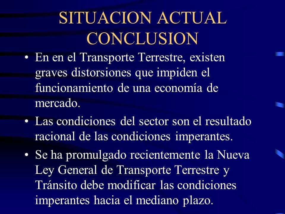 SITUACION ACTUAL CONCLUSION En en el Transporte Terrestre, existen graves distorsiones que impiden el funcionamiento de una economía de mercado.