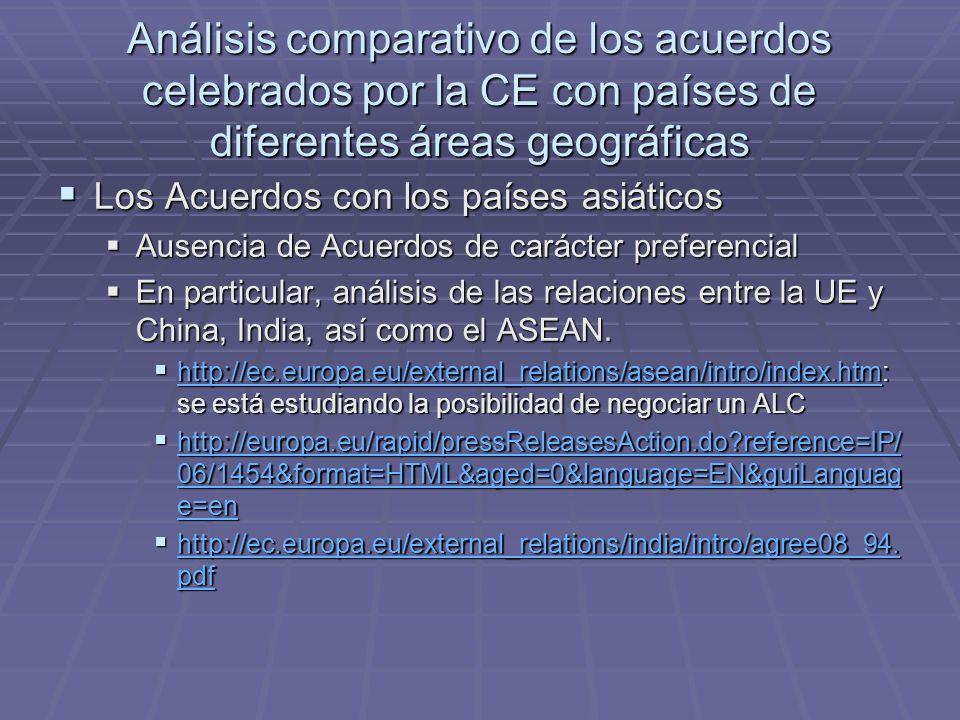 Análisis comparativo de los acuerdos celebrados por la CE con países de diferentes áreas geográficas Los Acuerdos con los países asiáticos Los Acuerdos con los países asiáticos Ausencia de Acuerdos de carácter preferencial Ausencia de Acuerdos de carácter preferencial En particular, análisis de las relaciones entre la UE y China, India, así como el ASEAN.