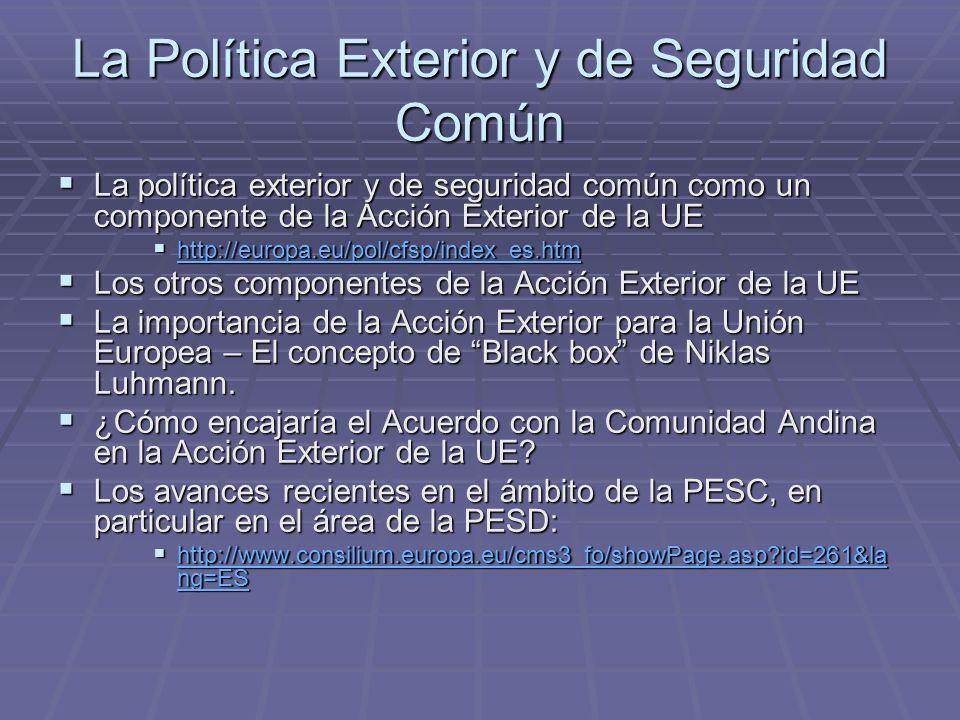 La Política Exterior y de Seguridad Común La política exterior y de seguridad común como un componente de la Acción Exterior de la UE La política exterior y de seguridad común como un componente de la Acción Exterior de la UE http://europa.eu/pol/cfsp/index_es.htm http://europa.eu/pol/cfsp/index_es.htm http://europa.eu/pol/cfsp/index_es.htm Los otros componentes de la Acción Exterior de la UE Los otros componentes de la Acción Exterior de la UE La importancia de la Acción Exterior para la Unión Europea – El concepto de Black box de Niklas Luhmann.