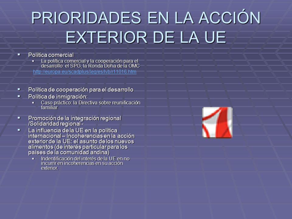 PRIORIDADES EN LA ACCIÓN EXTERIOR DE LA UE Política comercial Política comercial La política comercial y la cooperación para el desarrollo: el SPG, la Ronda Doha de la OMC La política comercial y la cooperación para el desarrollo: el SPG, la Ronda Doha de la OMC http://europa.eu/scadplus/leg/es/lvb/r11016.htm Política de cooperación para el desarrollo Política de cooperación para el desarrollo Política de inmigración: Política de inmigración: Caso práctico: la Directiva sobre reunificación familiar Caso práctico: la Directiva sobre reunificación familiar Promoción de la integración regional /Solidaridad regional - Promoción de la integración regional /Solidaridad regional - La influencia de la UE en la política internacional – Incoherencias en la acción exterior de la UE: el asunto de los nuevos alimentos (de interés particular para los países de la comunidad andina) La influencia de la UE en la política internacional – Incoherencias en la acción exterior de la UE: el asunto de los nuevos alimentos (de interés particular para los países de la comunidad andina) Indentificación del interés de la UE en no incurrir en incoherencias en su acción exterior.